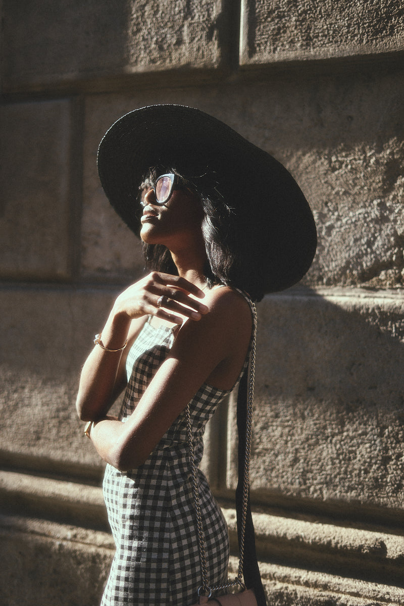 Catherine, Handmade Large Straw Hat - Noir - Sustainable Clothing Fashion Brand Label POETHICA®