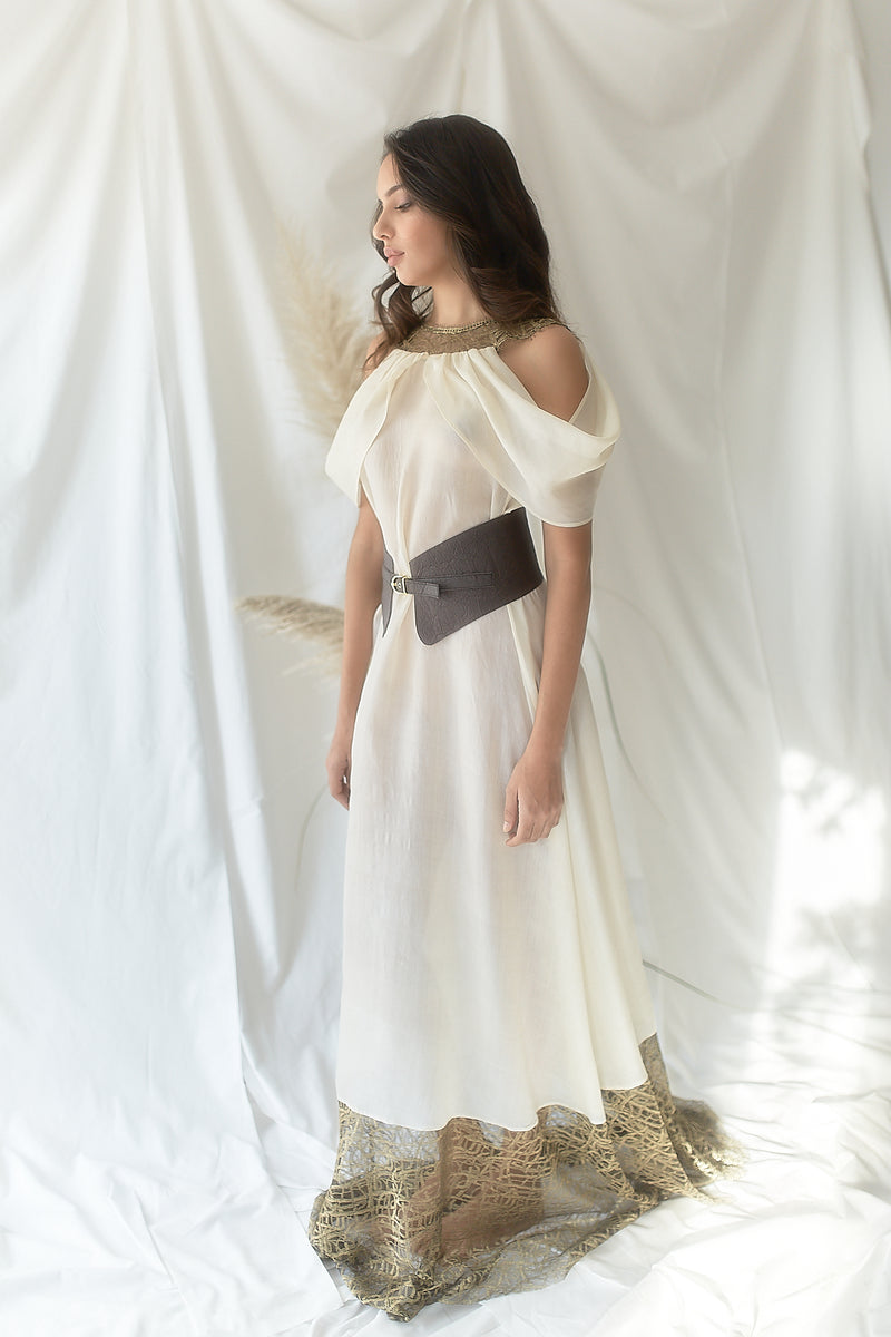 Kalasiris, Long Dress & Pineapple Cincher - Ahimsa Coll. - Sustainable Clothing Fashion Brand Label POETHICA®