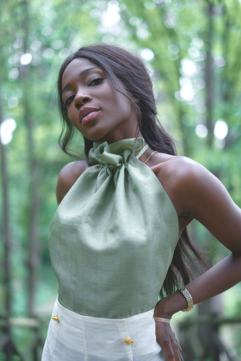 Viki Tissue, Ahimsa Silk - Top Green - Sustainable Clothing Fashion Brand Label POETHICA®