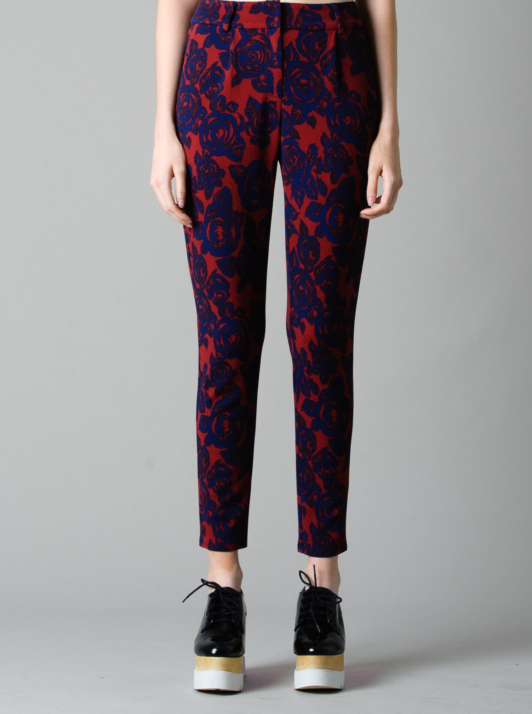 NAVY ROSE KNIT PANTS