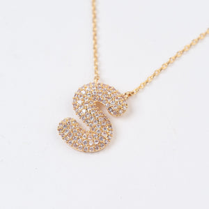 GLITZ INITIAL PENDANT NECKLACE | GOLD