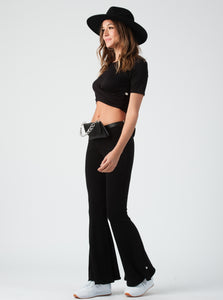 Lily Black Front Knot Crop Top