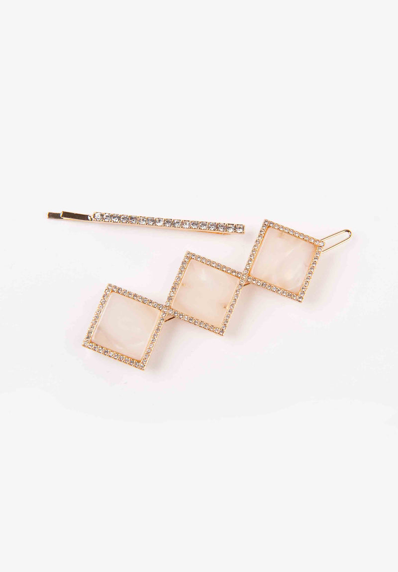 SQUARE HAIRCLIP SET | GOLD MARBLE
