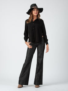 Hailee Black Side Button Blouse