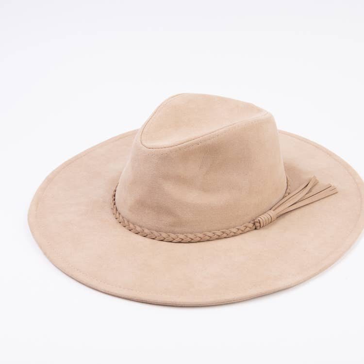 Braidie Taupe Braid Detail Western Style Hat