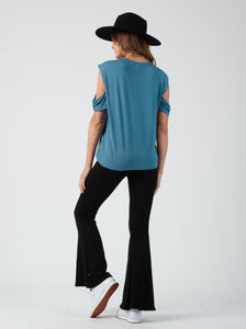 Jackson Dusty Blue Cold Shoulder tee