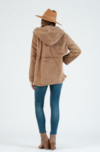 TIBET FAUX FUR HOODED COAT | TAUPE