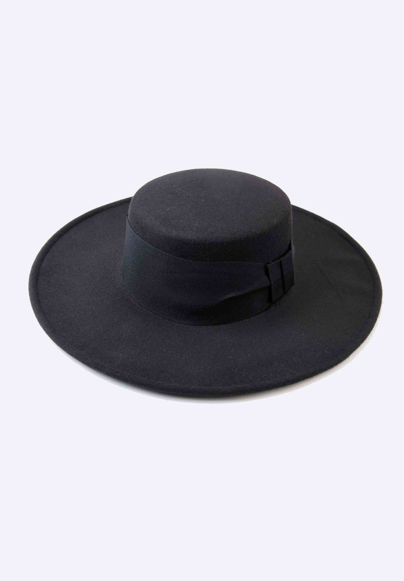 FLAT BRIM BOW TRIM HAT | BLACK