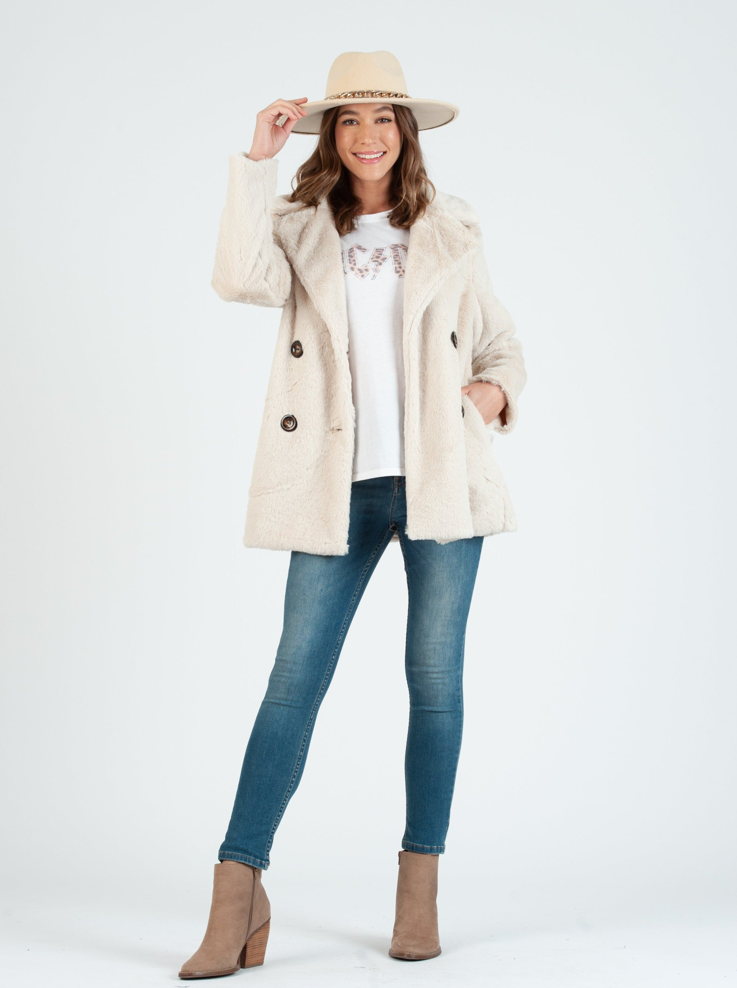 REYK FAUX FUR COAT | CREAM