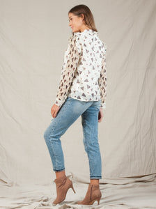 ROUSSANNE TIE NECK BLOUSE | WHITE FEATHER