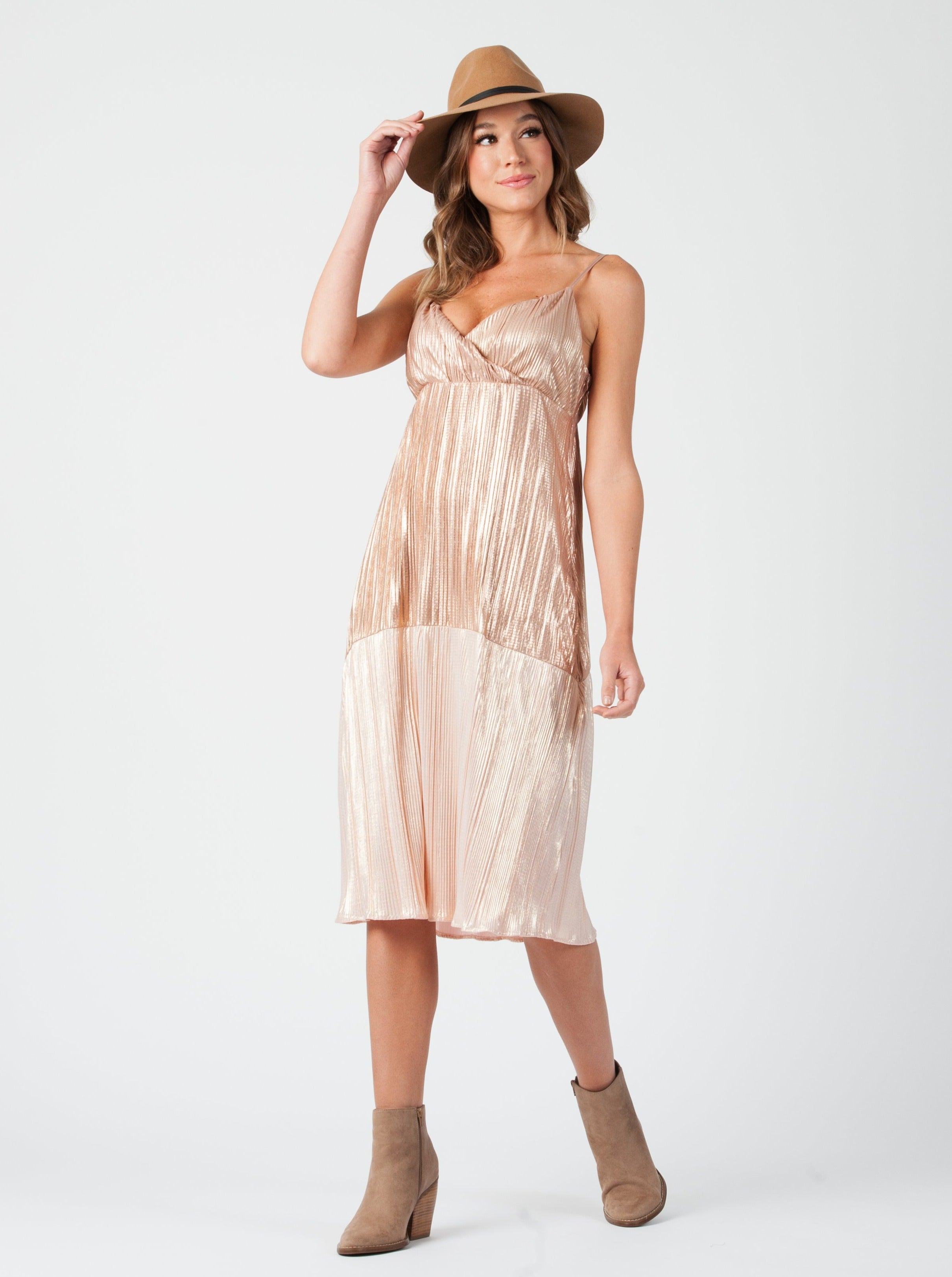 AMARONE CROSS BACK MIDI DRESS | ROSE GOLD