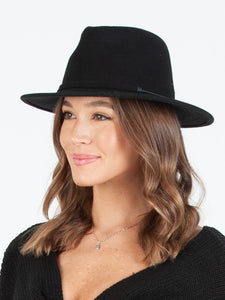BRYNN WOOL FEDORA HAT W/TRIM | BLACK