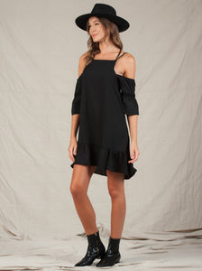 VIV LACE UP BACK COLD SHOULDER DRESS | BLACK