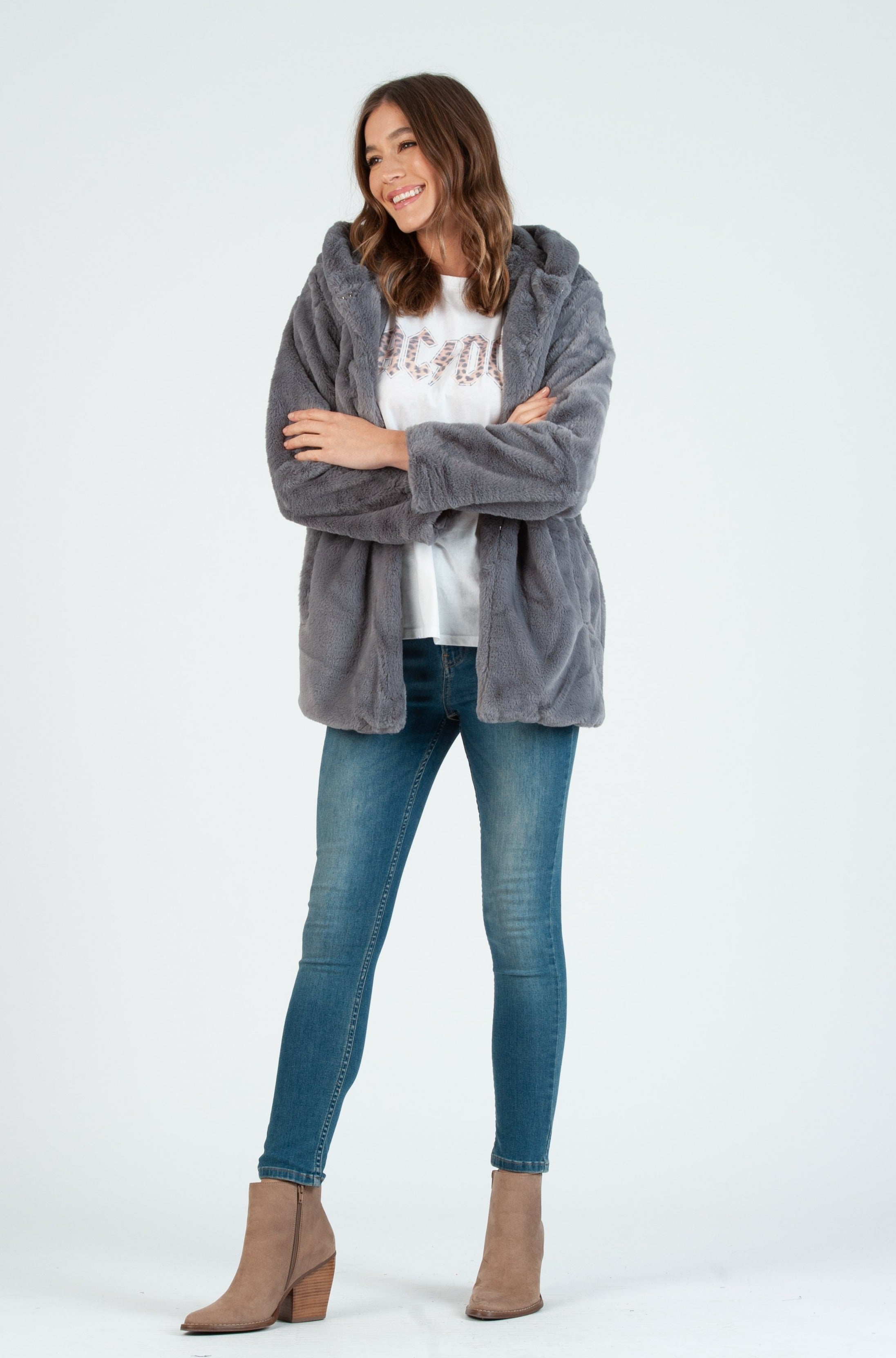 TIBET FAUX FUR HOODED COAT | GREY