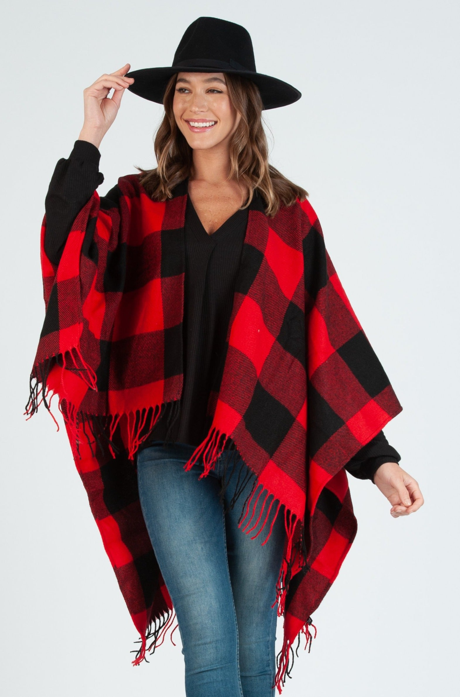 Buffie Plaid Poncho | Red/Blk