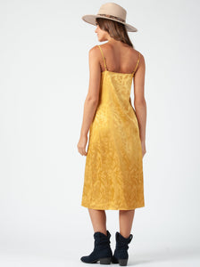 ROBIN BIAS CUT MIDI DRESS | GOLD