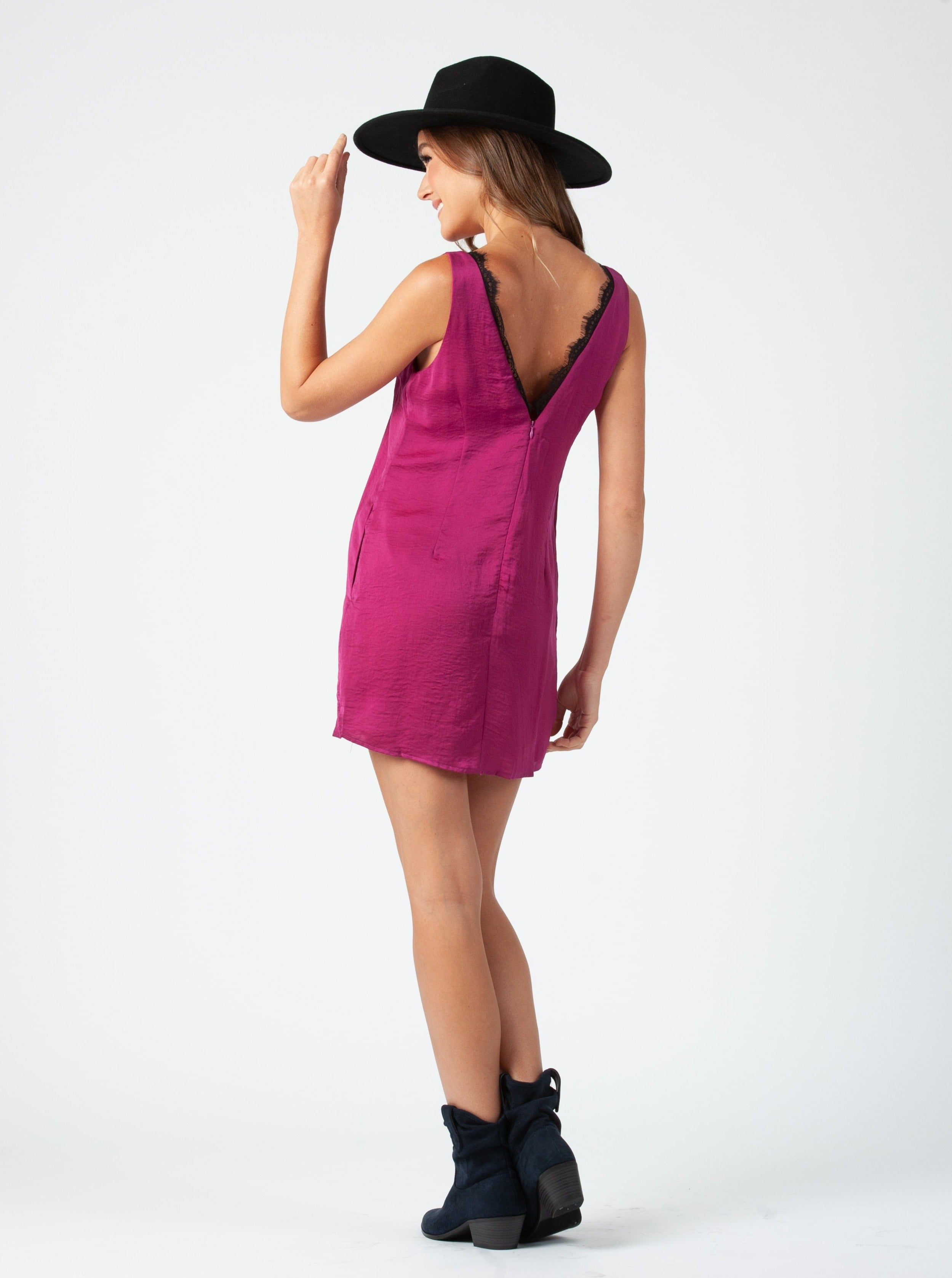 BELLA LACE TRIM SHIFT DRESS | FUCHSIA