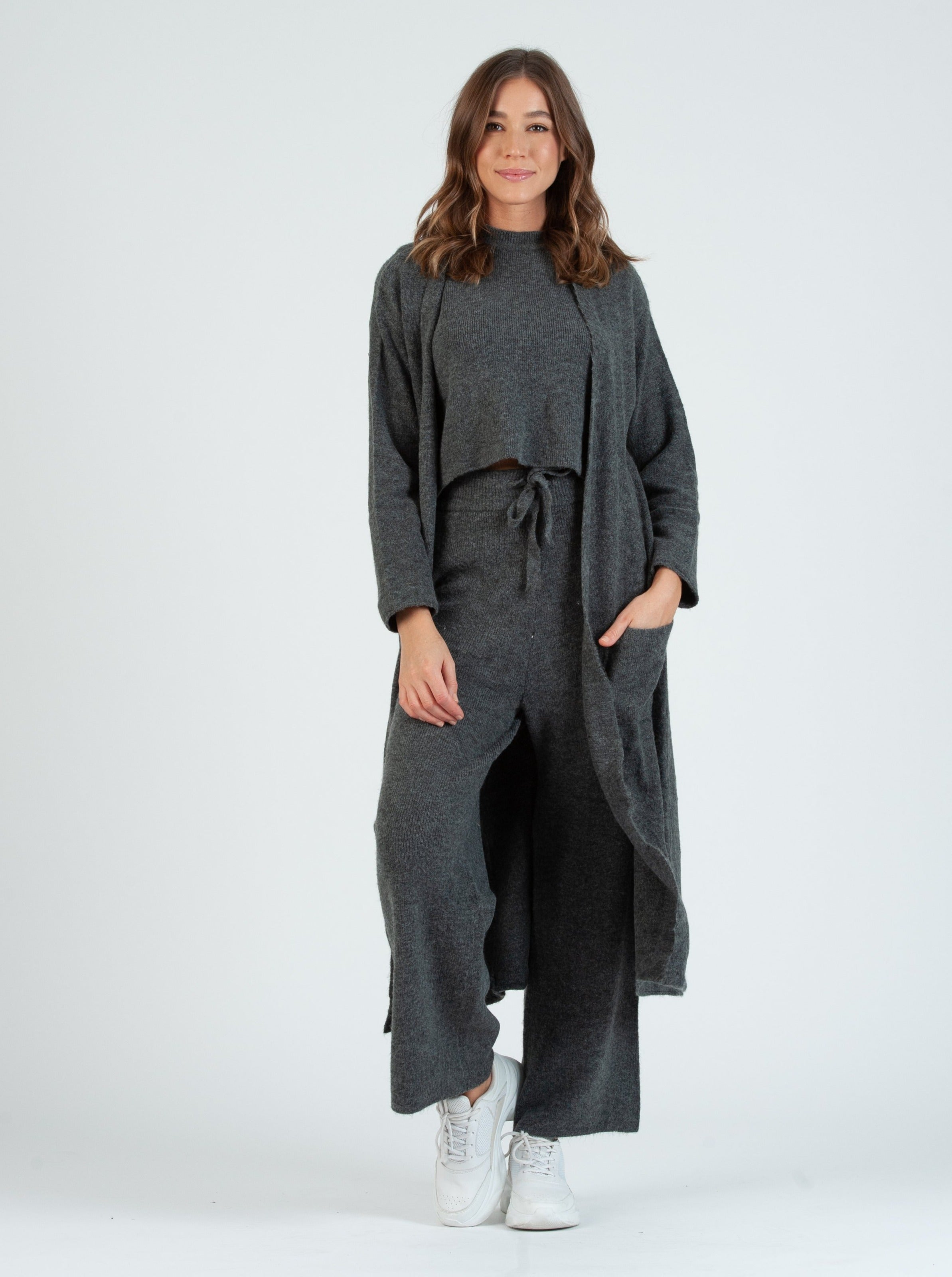Teff Charcoal Sweater Duster