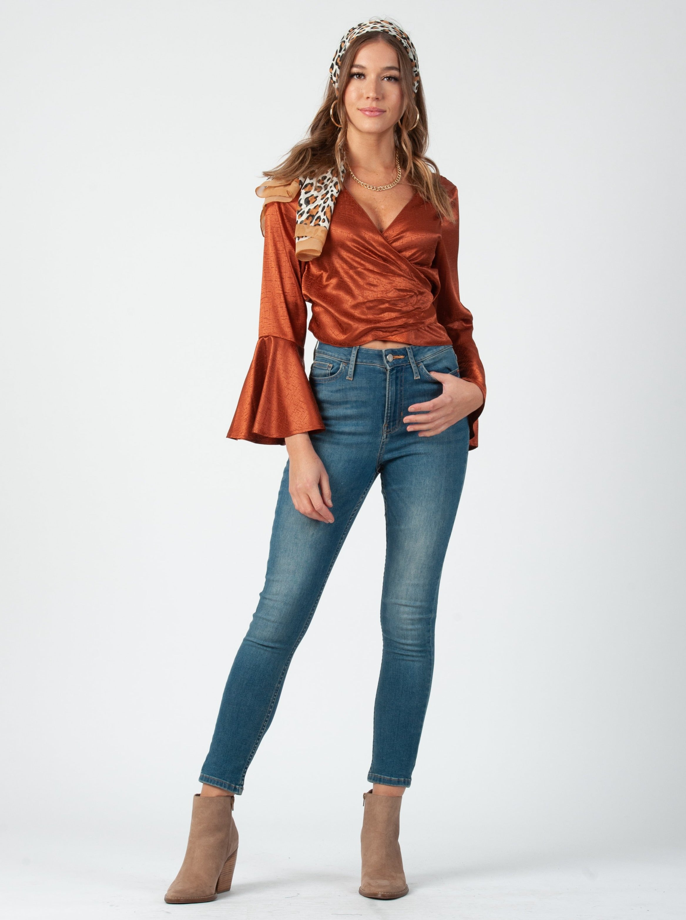 CELESTE TIE FRONT LONG SLEEVE | COPPER