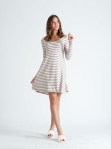 ALETTE OYSTER BLACK STRIPE SCOOP NECK LOUNGE DRESS