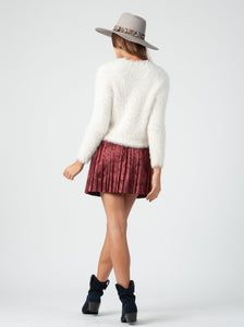 YVETTE PLEATED MINI SKIRT | MAROON