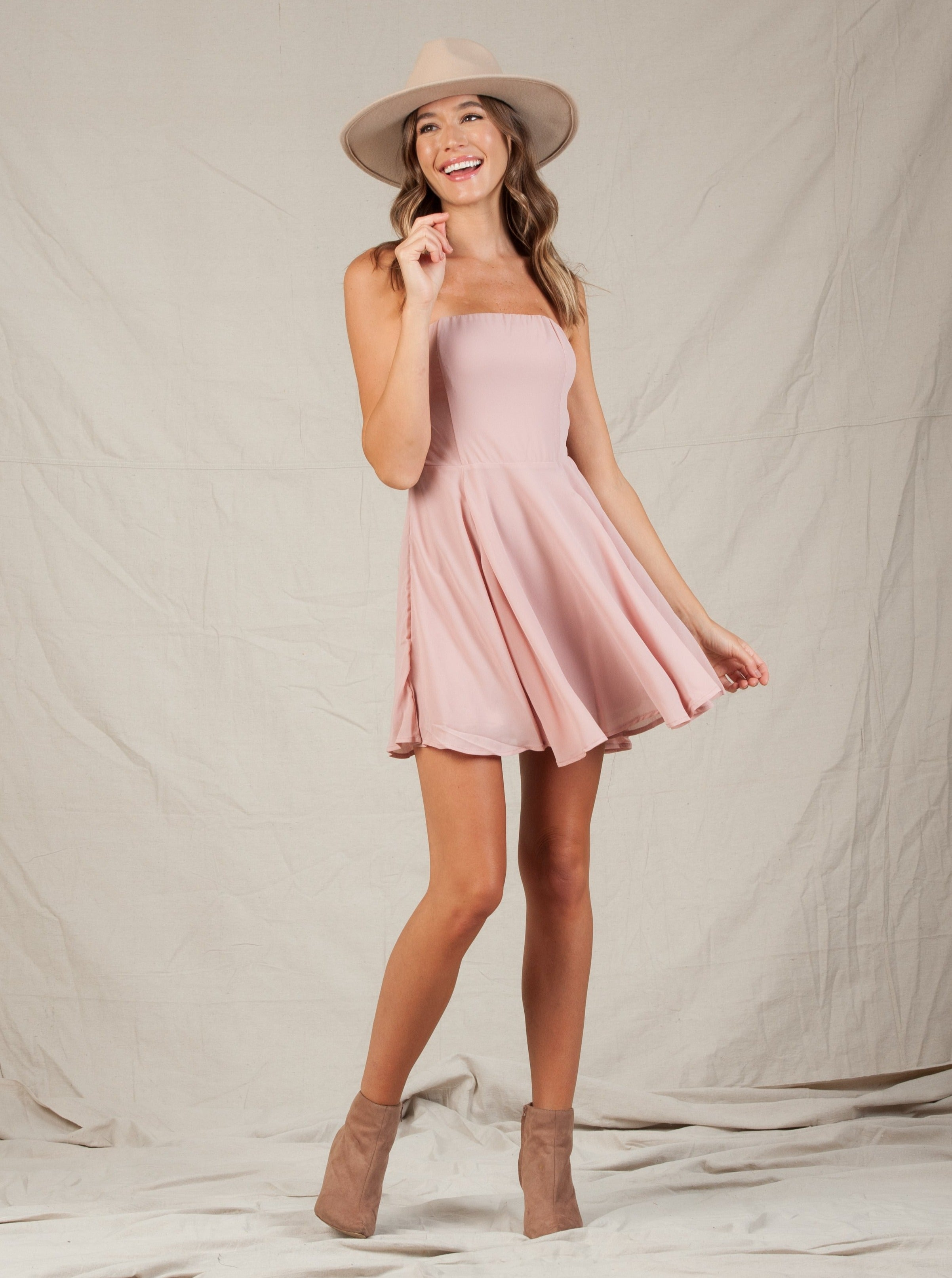 Valerie Mauve Dot Sweetheart Dress