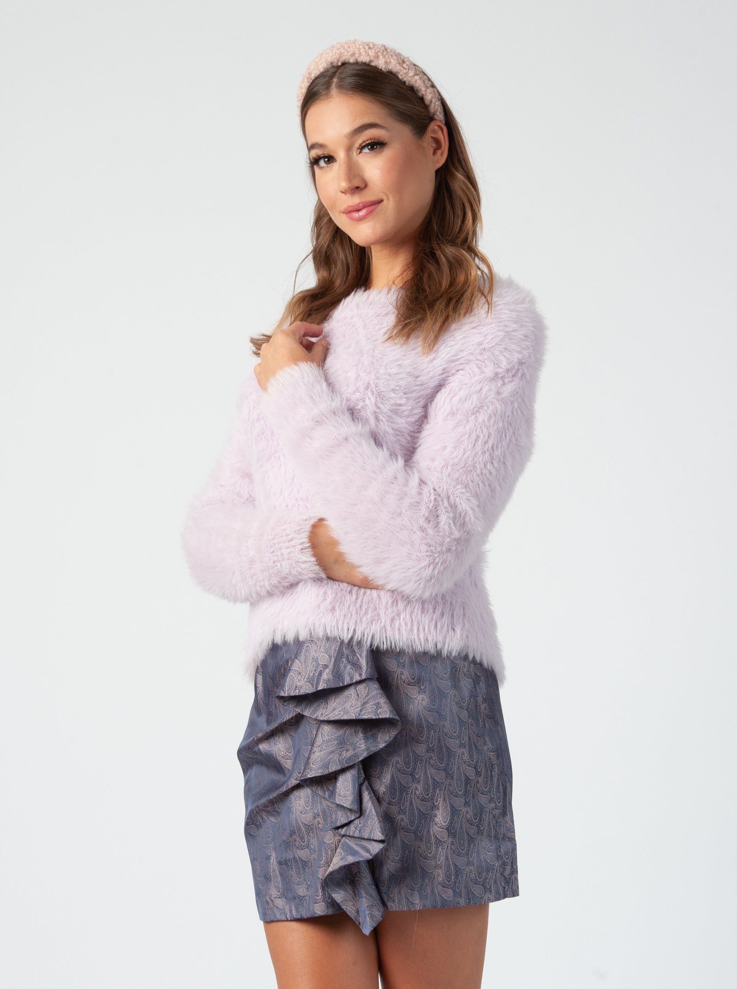 PAIGE PAISLEY IRIDESCENT FRONT RUFFLE SKIRT
