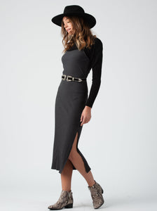 Alexandria Charcoal Square Neck Rib Midi Dress