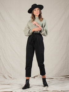 ABELLA PAPERBAG TROUSERS | BLACK