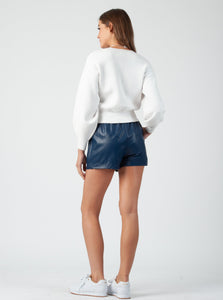 CHAKA BLUE VEGAN LEATHER SHORTS
