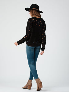 Harper Black Distressed Sweater