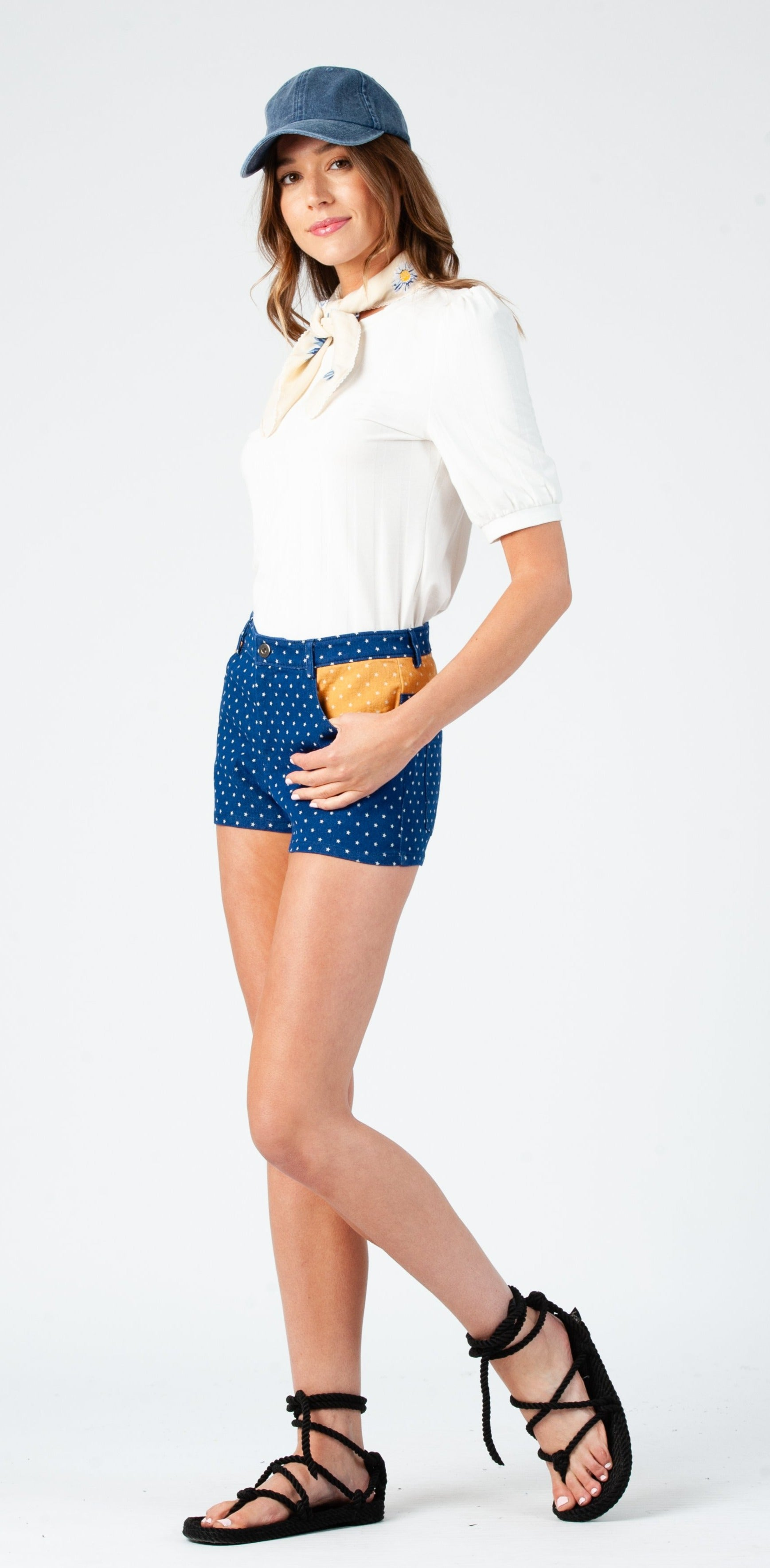 BETSY DENIM SHORTS | DENIM/MUSTARD STAR