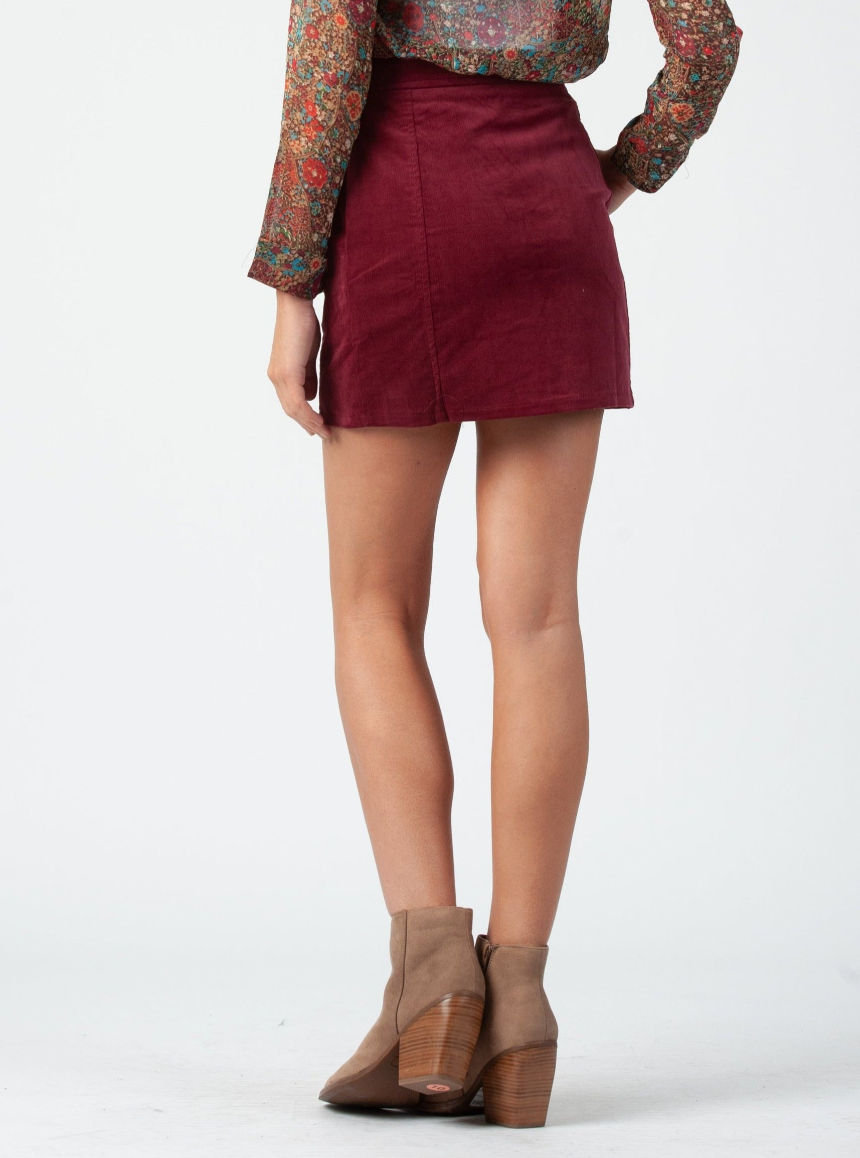 CHLOE RING ZIP UP SKIRT | WINE