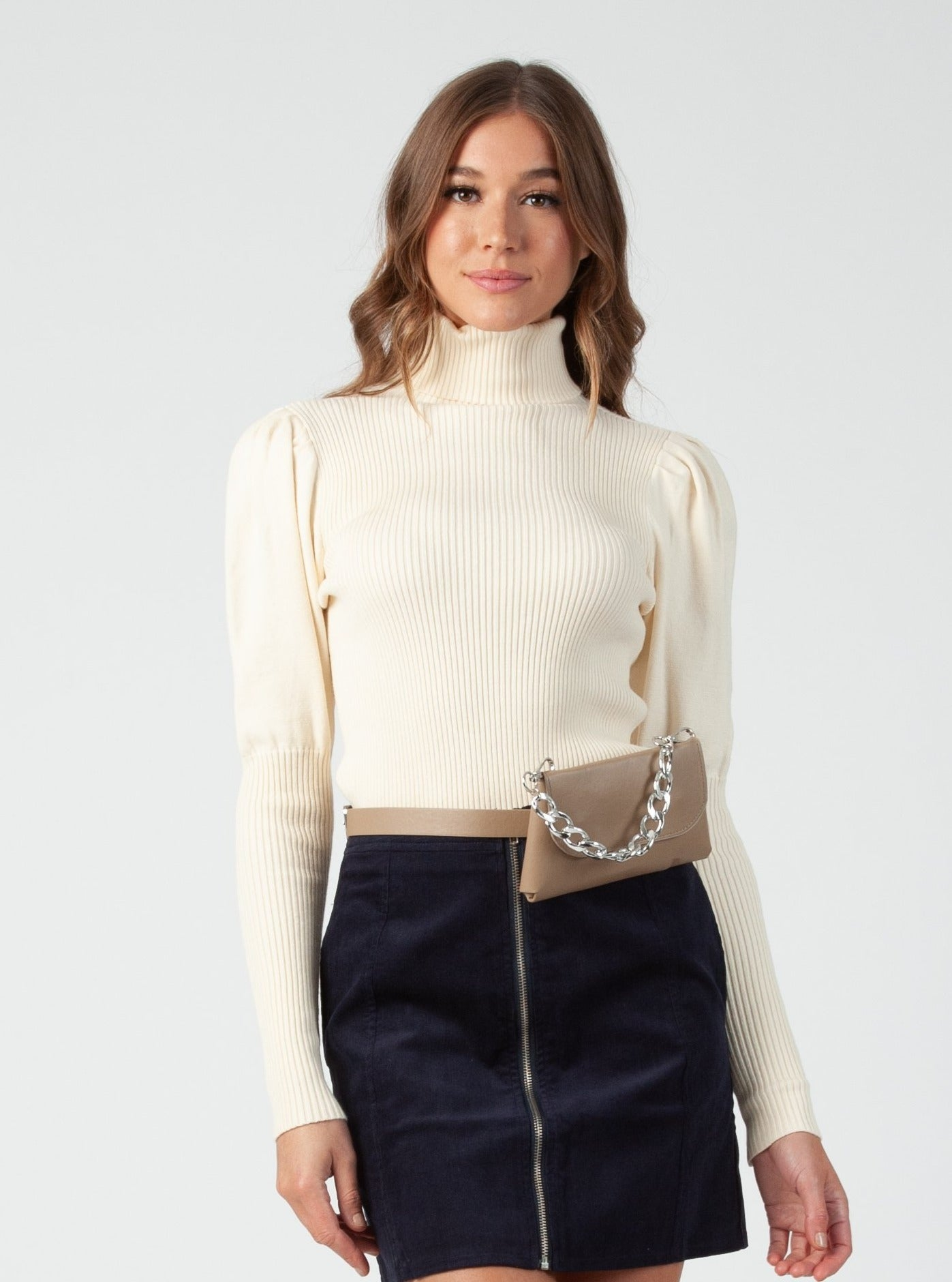 PRE ORDER BEKKA Ivory PUFF SLEEVE RIB TURTLENECK SWEATER