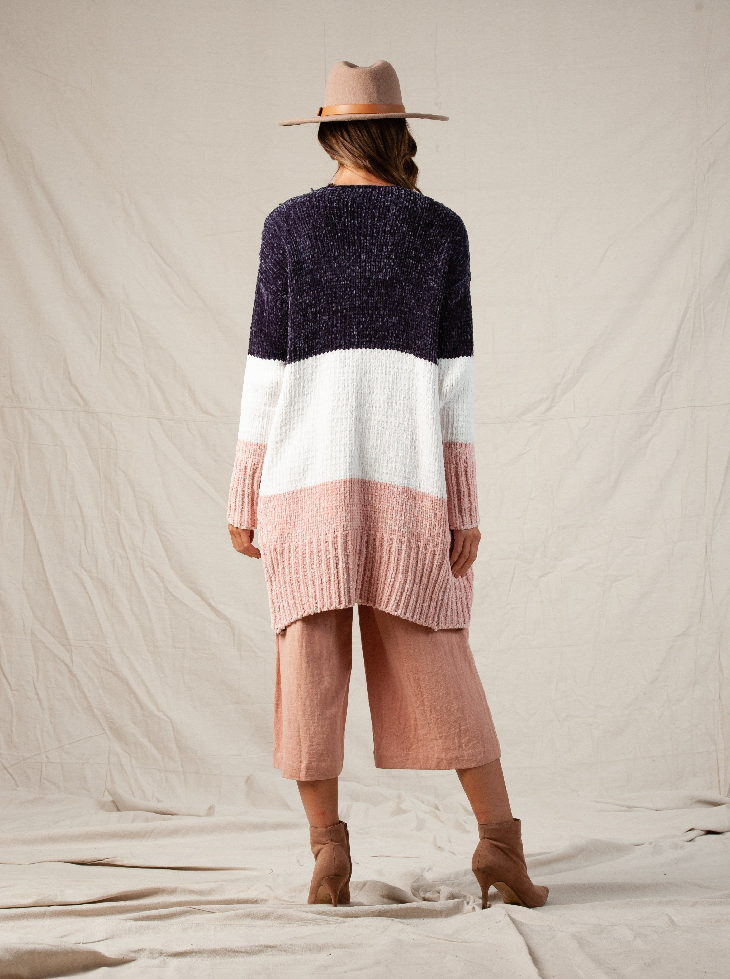 BENNY CHENILLE CARDIGAN | GRAY WHITE PINK COLOR BLOCK