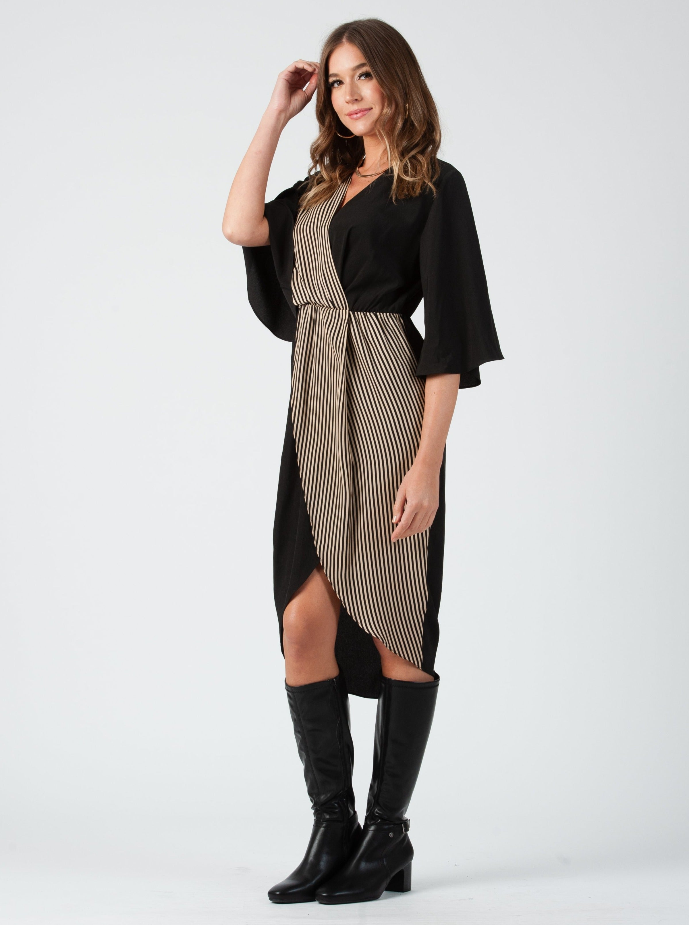 SHERRY FLUTTER SLEEVE DRESS | BARELY BEIGE