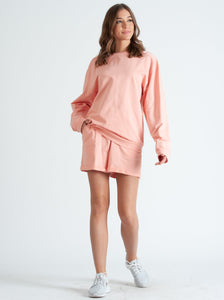 BEVERLY HILLS LONG SLEEVE & SHORTS LOUNGE SET IN CORAL