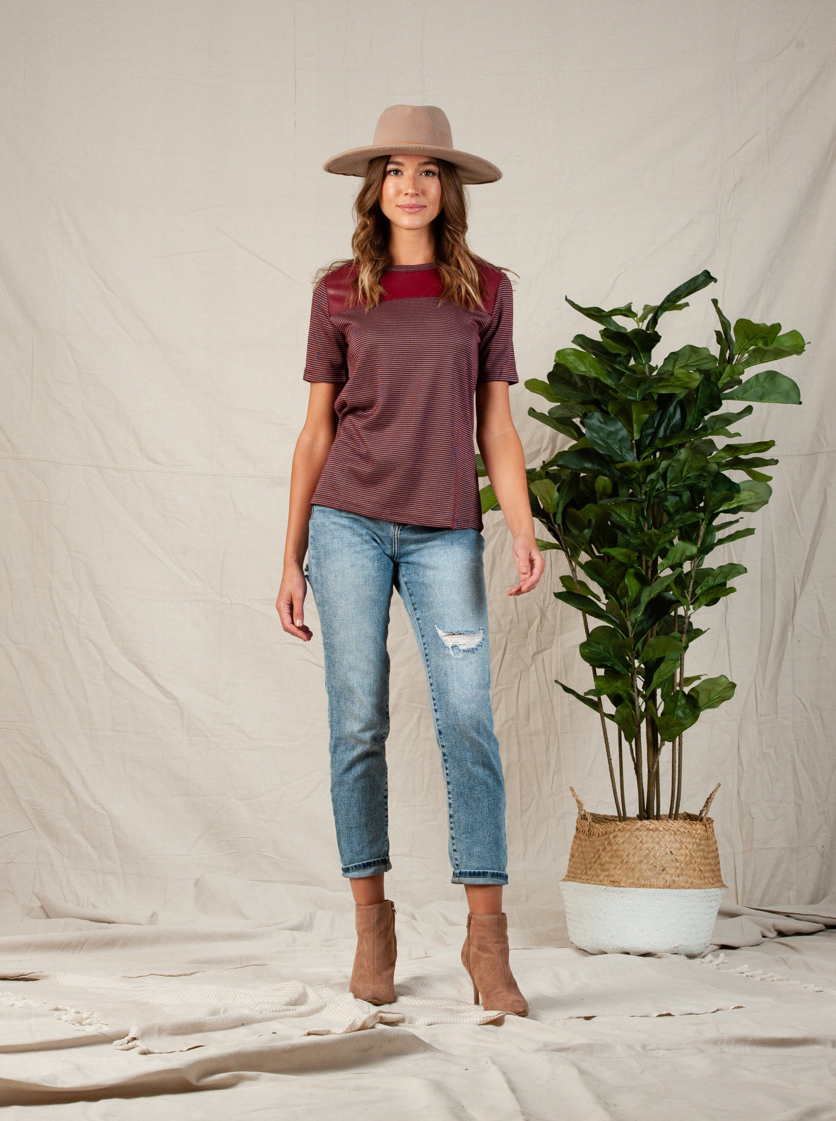 Garnet Vegan Leather Inset Top