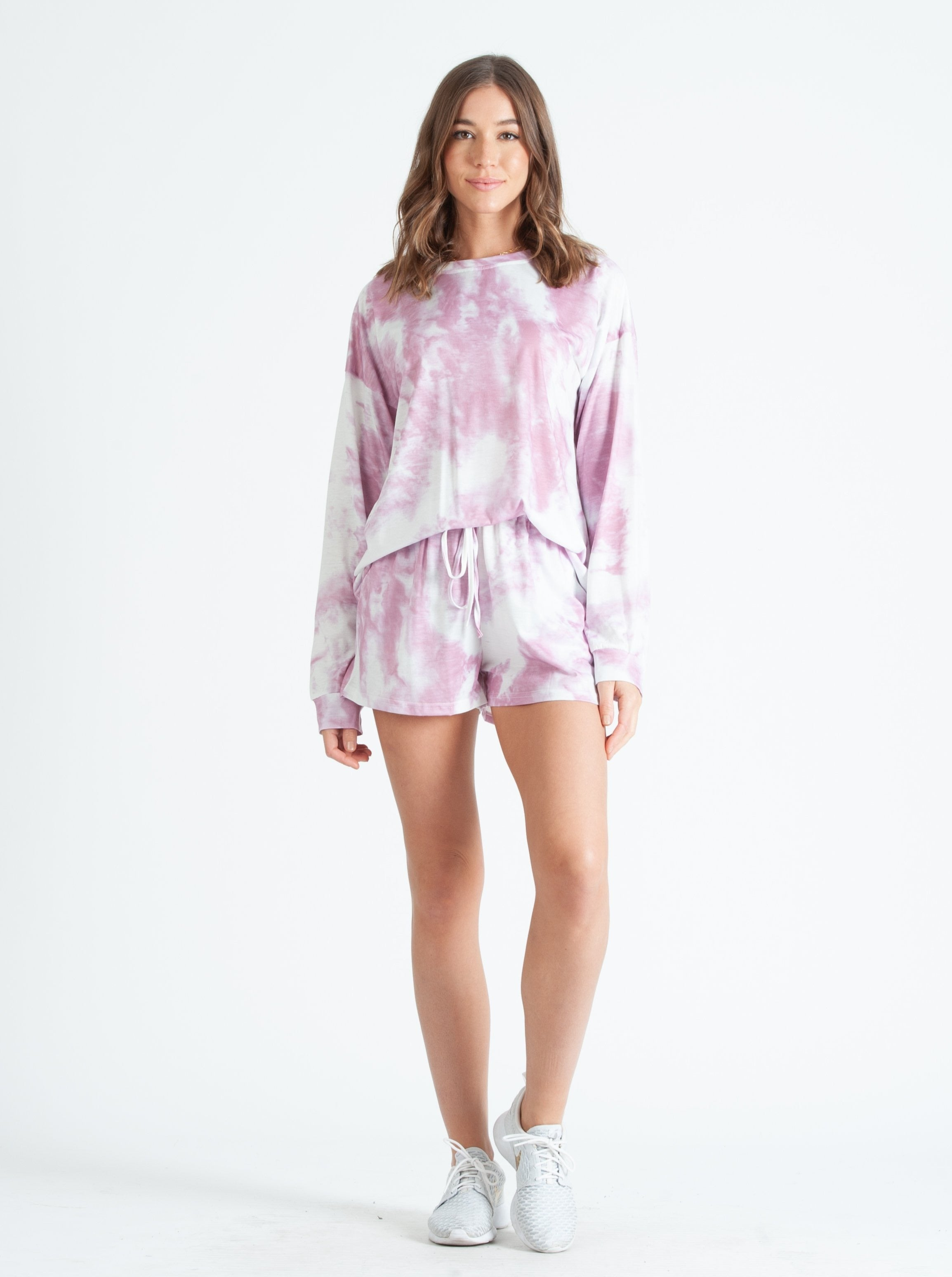 HUNTINGTON BEACH LONG SLEEVE & SHORTS LOUNGE SET IN LAVENDER TIE DYE
