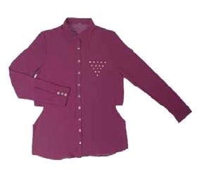 WINE CUT OUT BLOUSE WITH STUD DETAIL POCKET
