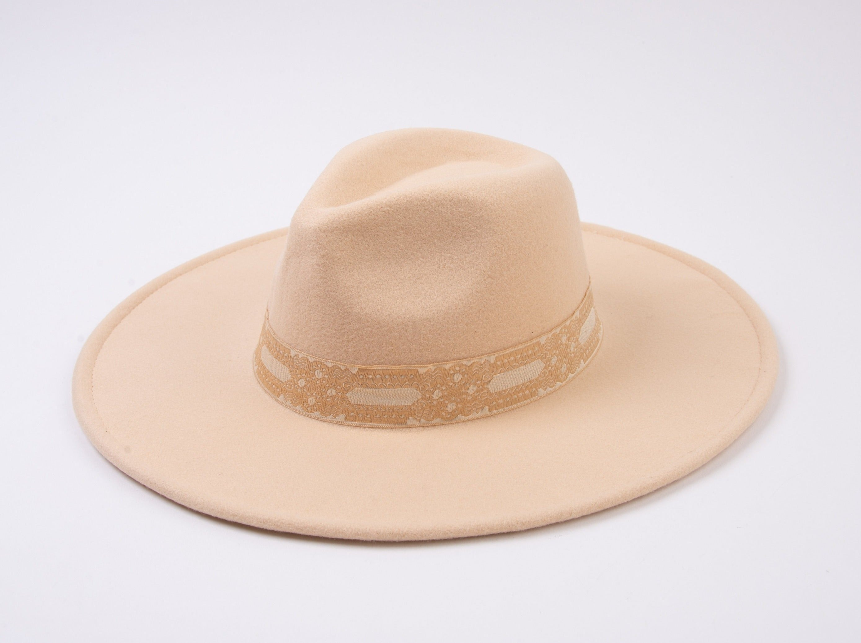 KYLIE FEDORA WITH JAQUARD TRIM | MILK