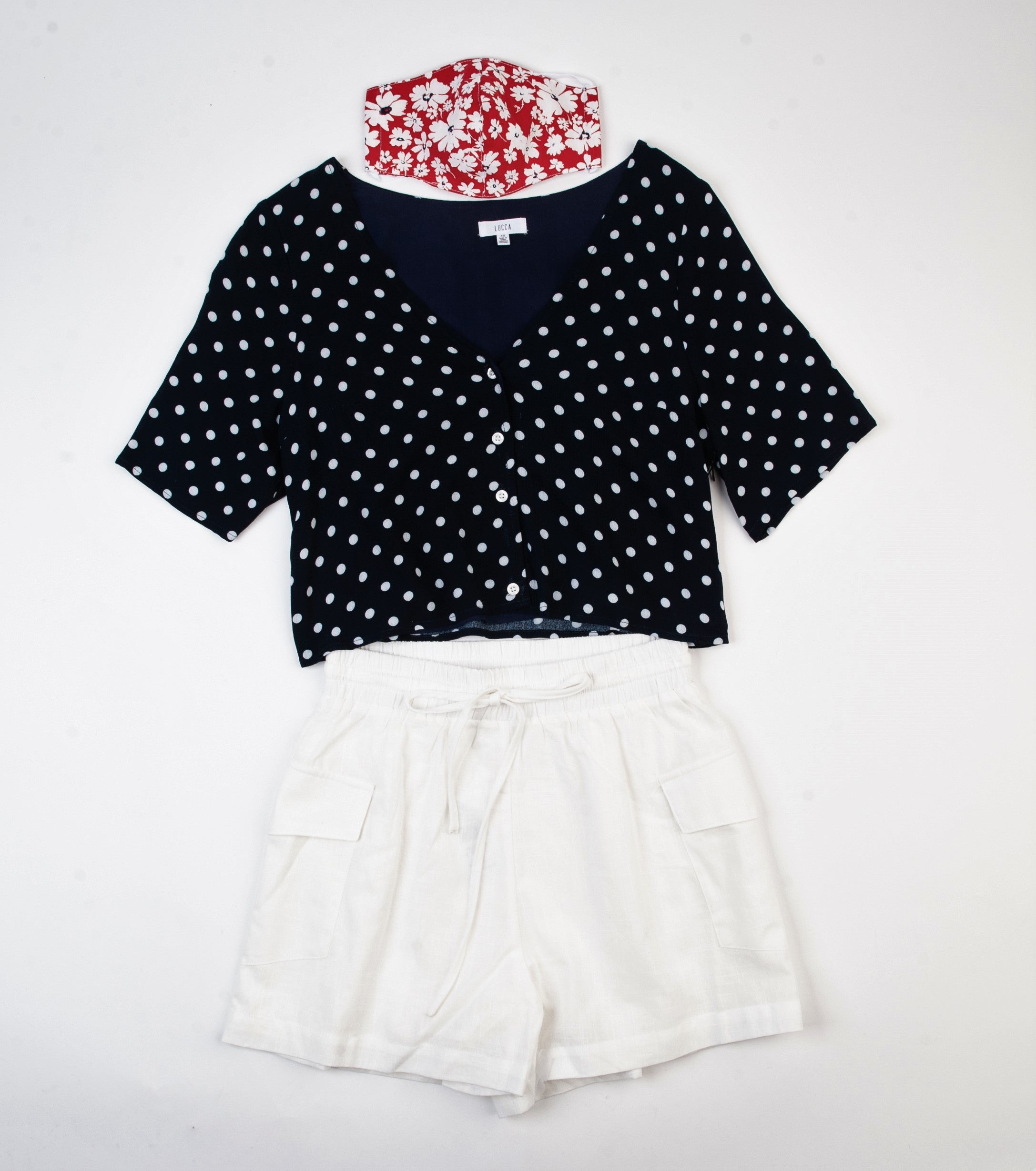 ALISON BUTTON FRONT CROP TOP | NAVY POLKA DOT