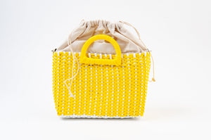 PHOEBE CANARY PLASTIC WOVEN PURSE