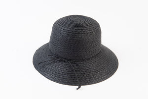 Black Bloom Straw Hat