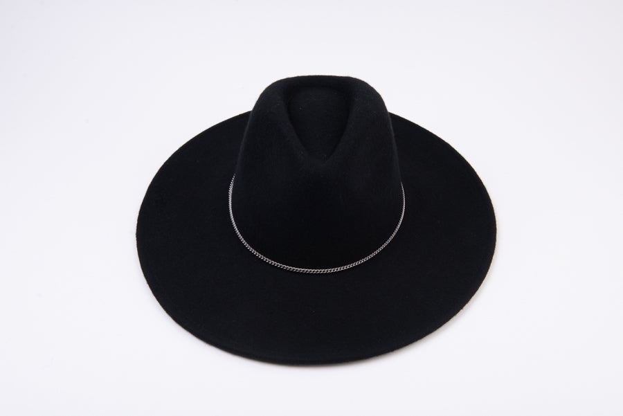 CURBIE CHAIN WOOL FEDORA | BLACK SILVER