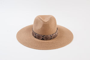 JANE Tan Fedora Style Hat w/Snake Trim