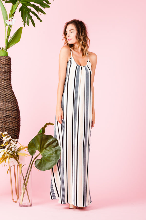 ARUBA MAXI DRESS | OFF WHITE TAN STRIPE