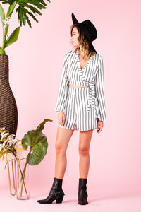 KEY LARGO ROMPER | WHITE BLACK STRIPE