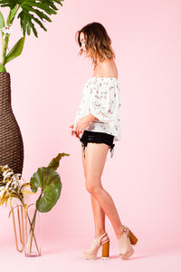 CAYMAN OFF SHOULDER TOP | IVORY PINK FLORAL