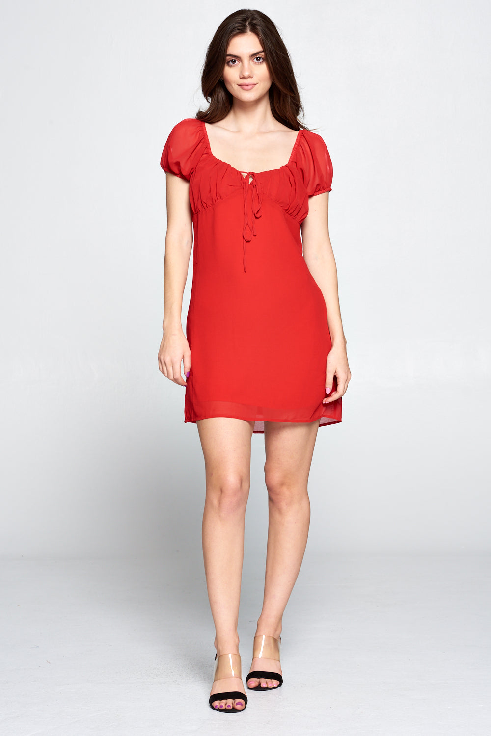 EMMA PUFF SLEEVE DRESS | RED